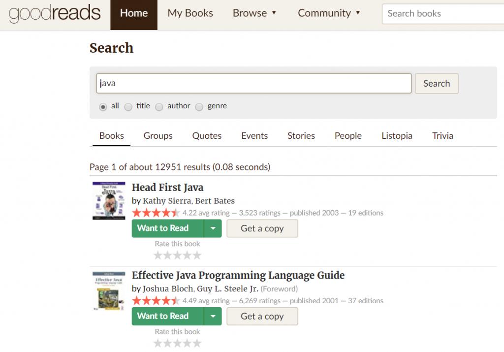 goodreads | wyszukiwanie kandydatów | wyszukiwanie po książkach