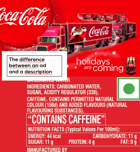 Recruitment advertising problem illustrated: an ad for Coca Cola and a list of ingredients of the drink.