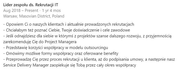 Profil rekrutera: opis obowiązków (przykład)